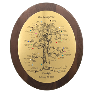 engraved birthstone family tree gift